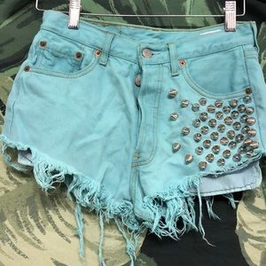 Studded High Waisted Levis Shorts